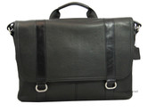 Osgoode Marley  Flapover Slim Leather Laptop Flapped Messenger Bag - Black