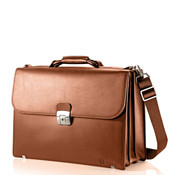 "Hartmann Heritage Leather Triple Gusset 15.6"" Flap Briefbag Laptop Bag"