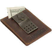 DamnDog Leather Cash Clip Mens Money Clip Wallet - Brown