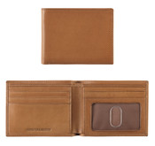 Johnston & Murphy Italian Leather Slimfold Mens RFID Wallet - Tan