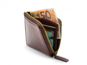 Bosca Dolce Leather RFID Mens Euro Zip Wallet