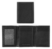 Johnston & Murphy Mens Tri-Fold RFID Leather Wallet - Black