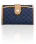 Rioni Piper Multi Fold Button Womens Wallet - Signature Navy