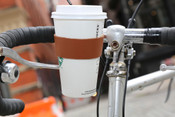 Kikkerland Leather Bicycle Cup Holder with Spring Steel Clip