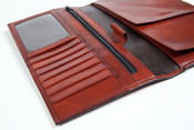 Bosca Old Leather Flight Attendant Travel Ticket Organizer