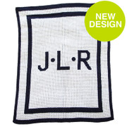 Personalized Stroller Blanket, Initial and Double Border