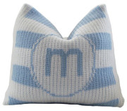 Personalized Striped Pillow, Single Initial