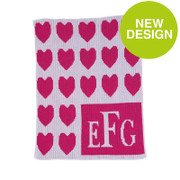 Personalized Stroller Blanket, Lots of Hearts and Wedding Monogram
