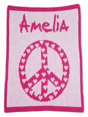 Personalized Stroller Blanket, Peace & Hearts