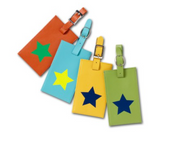 Leather Luggage Tag with Star Icon, Add Personalization