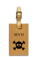 Leather Luggage Tag with Skull Icon, Add Personalization