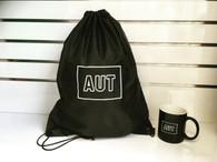 AUT drawstring bag + coffee cup