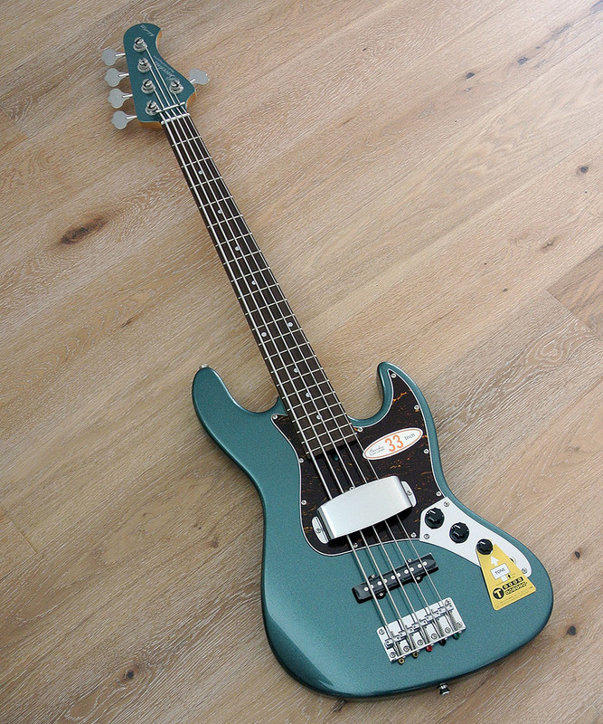 "Bacchus Global Series - WL-533 - 33"" Scale 5 String Bass in Metallic Green Finish"