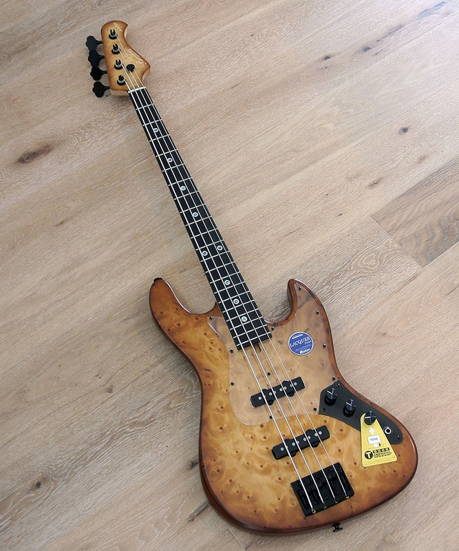 Bacchus Handmade Japan Series - WOODLINE DX4 / EWC GB - 4 String Bass - Ginan Burl Top - Brown Burst