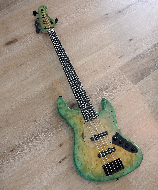 Bacchus Handmade Japan Series - WOODLINE DX5AC / EWC GB - 5 String Active Bass - Ginan Burl Top - Moegi Green Burst