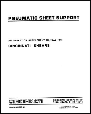 EM-261 (MAR 91) Pneumatic Sheet Supports - Mechanical Shears