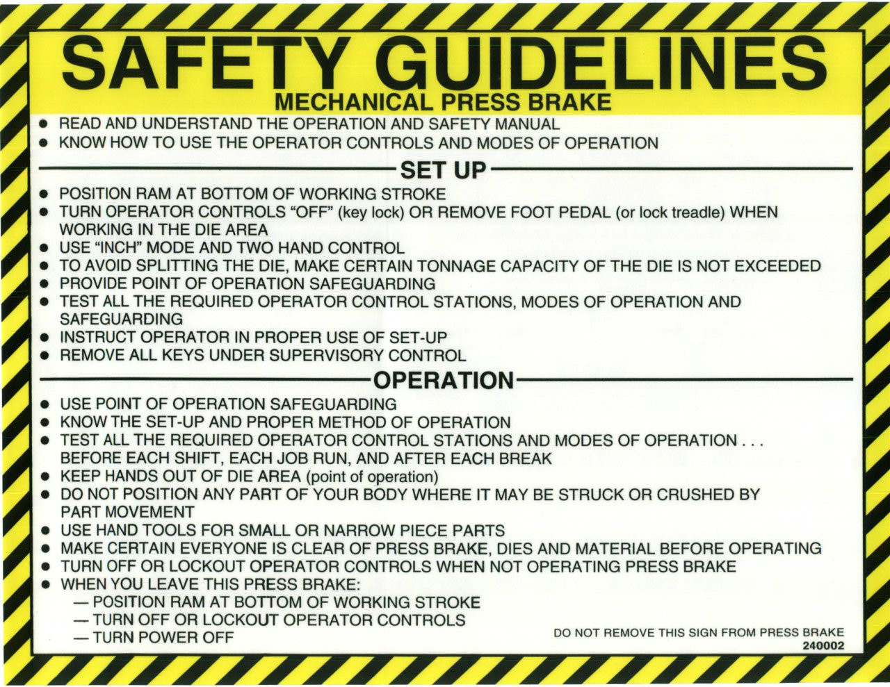 Safety Sign Press Brake Mechanical Safety Guidelines