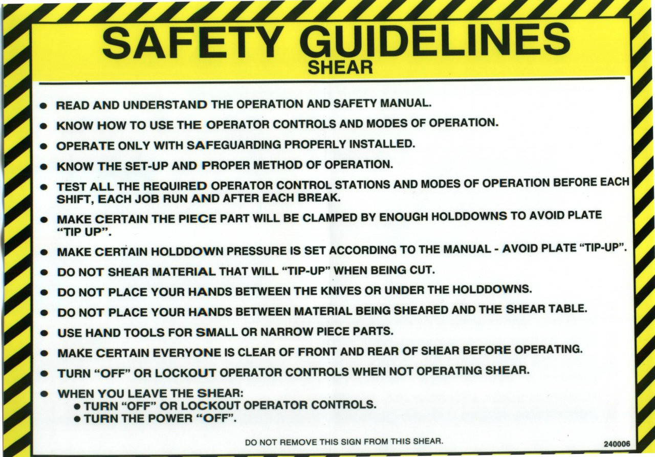 Safety Sign Shear Safety Guidelines English