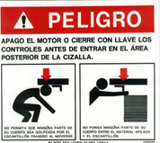 Safety Sign: Shear - Danger Rear (Spanish)
