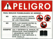 Safety Sign: Shear - Danger (Spanish)