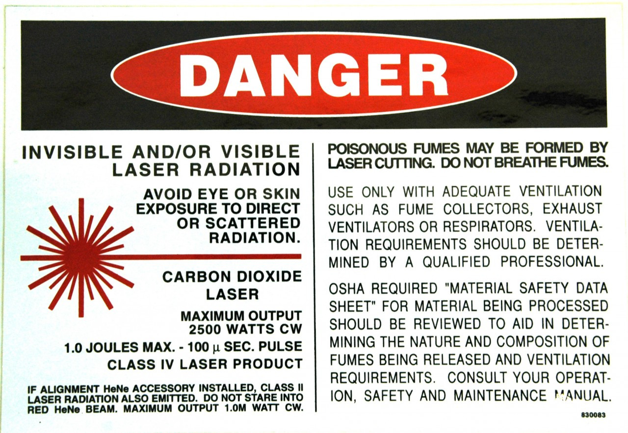 Safety Sign Laser Co2 Danger Laser Radiation English