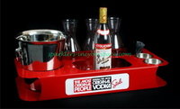 A variety of colors for customizeable bottle service trays