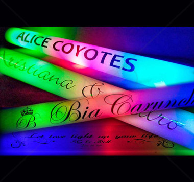 Colorful LED foam sticks glow batons can be customized & branded with your unique artwork.