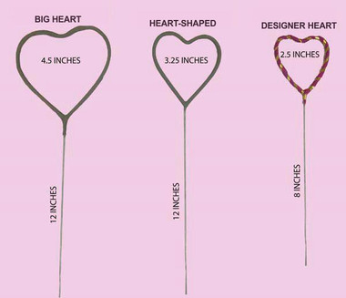 Get the right size heart sparkler for your special day - wedding, anniversary, Valentine's or just a really romantic date!!
