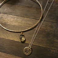 Hammered Bangle and Initial Necklace