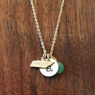 Necklace - State Initial and Gemstone Necklace - Custom