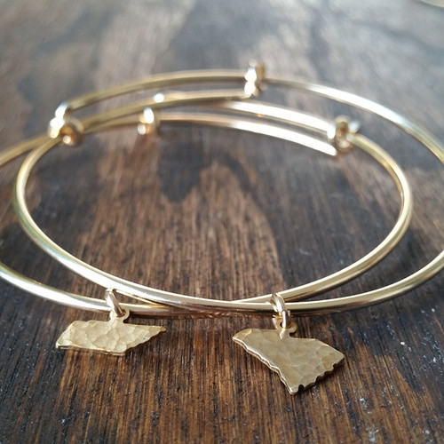 Bracelet - Gold Filled - Hammered Brass State Charm