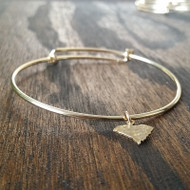 Bracelet - Adjustable - Hammered Brass State Charm