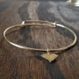 Bracelet - Gold Filled - Hammered Brass State Charm - Adjustable