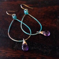Lola Patina Loop & Gemstone Earrings