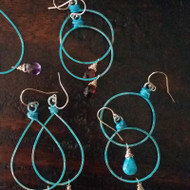 Circle Patina Hoop & Gemstone Earrings