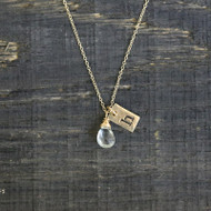 Tiny Rectangle Initial & Gemstone Necklace