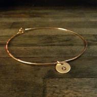 Single Initial Bangle Bracelet