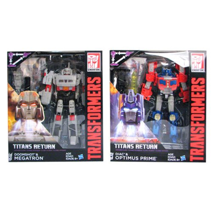 Transformers Generations Titans Return - Voyager Class G1 Megatron & G2 Optimus Prime Set of 2