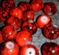 CREEK CANDY BEADS Toxic Red 8mm SINKZ (15 pack)