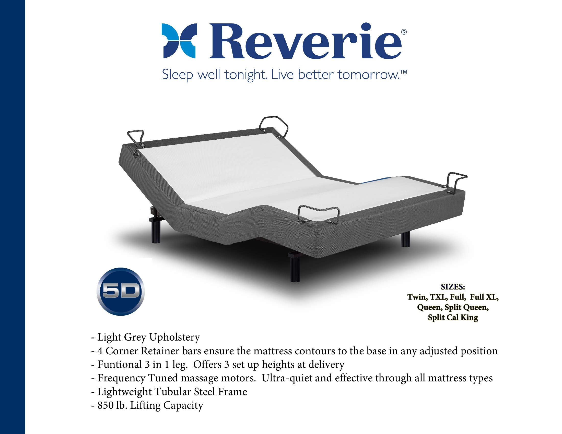 reverie 5d adjustable bed with wireless remote, massage, zero gravity