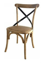 *Cross Back Chair   French Oak With Metal Straps   IN STOCK