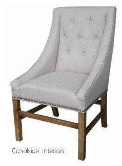 Empire upholstered dining chair cream canalside interiors for Cream upholstered dining chairs