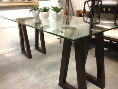trestle glass dining table desk sold out canalside