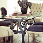 Hobbs Industrial Dining Table with Glass Top Via Pinterest