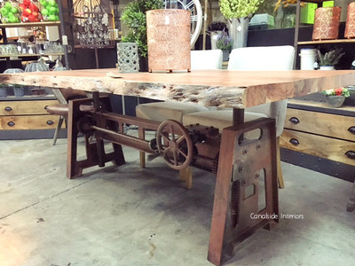 Crank Adjustable Industrial Live Edge Dining Table