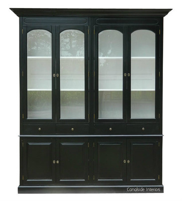 Key largo 4 door display unit distressed black with white interior in stock canalside for Key largo buffet