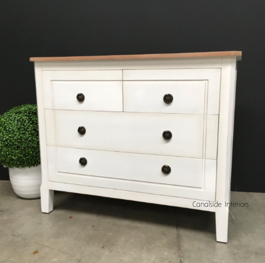 Beckett Chest Of Drawers Distressed White Limewash Top