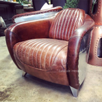 Corvette Aged Leather & Aluminium Armchair