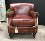 Doctus Aged Leather/Linen Armchair