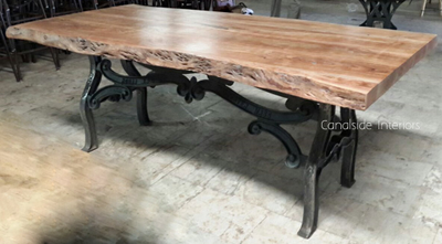 Hobbs Industrial Dining Table With Natural Wood Top